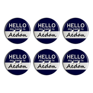 Aedan Hello My Name Is Plastic Resin Button Set of 6
