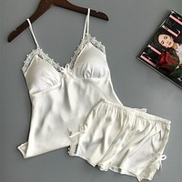 Cotton Two Piece Set Women Sleepwear Silk Pajamas Sexy Chest Pad Nightwear Women Summer Lace Homewear Women Lingerie