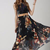 Black Floral Print Sleeveless Tie-Waisted Chiffon Maxi Dress