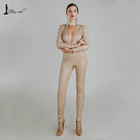 Missord 2016 Sexy O-neck long sleeve sequin jumpsuit FT4767