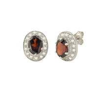 Garnet Gemstone Stud Earrings 925 Sterling Silver Oval Micropave CZ Accent