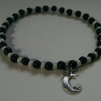Black & Pearly White Crescent Moon and Star Anklet Mystical Witchy Stretch Ankle Bracelet