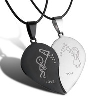 2016 New Style Broken Heart Parts 2 Best Friend Necklaces & Pendants Share With Your Friends Stainless Steel Couple Necklaces