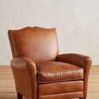 Floral-Trim Leather Corbetta Chair by Anthropologie in Brown Motif Size: One Size Furniture