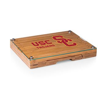 USC Trojans - Concerto Glass Top Cheese Cutting Board & Tools Set, (Bamboo)