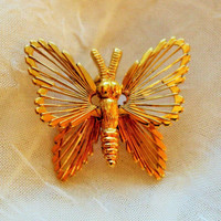 Vintage Monet Butterfly Pin Brooch Gold-tone