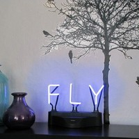 Neon Sign Phrase Fly Blue or Light Purple by neoslettering
