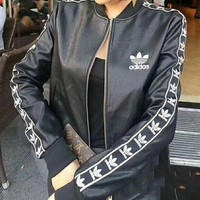 ADIDAS Fashion Casual Women Embroidery Leather Long Sleeve Cardigan Jacket Coat G-Y-GXYAL