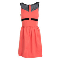 Kensie Womens Mesh Inset Faux Leather Trim Cocktail Dress
