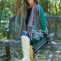 All In One Cardigan, Navy/Teal