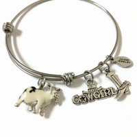 Cowgirl Expandable Bracelet Cowgirl Stacking Bracelet Cow Charm Bangle Bracelet Cowgirl Bangle Farm Girl Adjustable Bangle Bracelet (SP21)