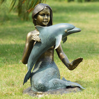 SPI Mermaid and Dolphin Garden Statue