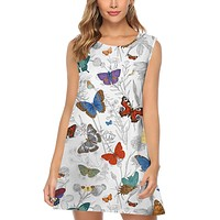 2020 new women's color butterfly print fashion loose dress