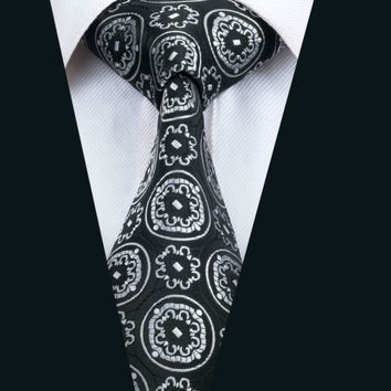 New Arrival Fashion Men`s Tie Black & White Novelty Neck Tie Silk Jacquard Ties For Men Business Wedding Party