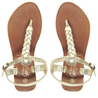 New Look Gladice Gold Woven Leather Flat Sandals