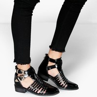 Keira Caged Cut Work Buckle Boot