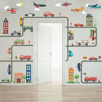 Busy Transportation Town Wall Decals, EMS, Cars, Trucks, Helicopter & Airplanes plus Gray Road
