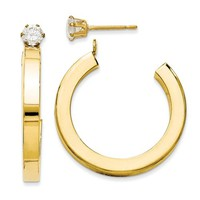 14k Yellow Gold CZ Stud with Hoop Earring Jackets