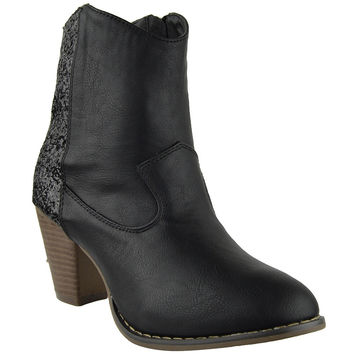 Womens Ankle Boots Mixed Glitter High Heel Casual Dress Shoes black
