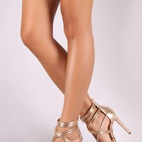Metallic Tubular Strappy Open Toe Stiletto Heel