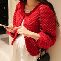 Open Front Knitted Long Sleeve Cardigan
