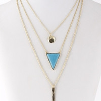 Circle Stone and Bar Triple Chain Necklace - Turquoise or White
