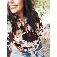 Country Charm Cow Print Sherpa Sweater Pullover