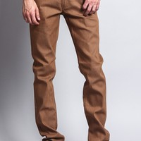 Men's Skinny Fit Raw Denim Jeans (Wheat)
