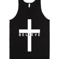 Believe Cross (Tank - Lower Text - White