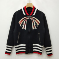 GUCCI Autumn and winter new fashion embroidery bow-knot personality long sleeve top coat Black