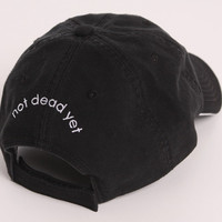 "ndy ""NOT DEAD YET"" Black Cap with ndy Logo, Giftwrapped, from ndy Not Done Yet"