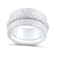 Sterling Silver Wide Hammered Statement Spinner Ring  10mm