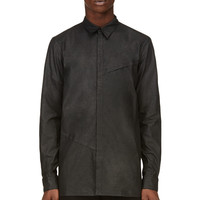 Alexandre Plokhov Black Leather-effect Elytron Collar Shirt