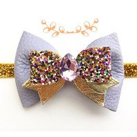 Girls Lilac and Gold Leather Sparkly Bow Headband / Baby Jeweled Headband / Glitter Headband / Spring  Bow Hair Accessory / Lavender Bow
