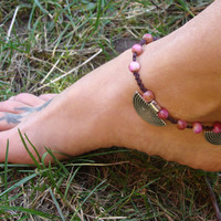 Macrame Anklet , silver semi circle charms, beaded anklet, Natural Jade