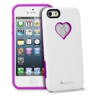GreatShield RADIANT Series Heart Shape Valentines Day Case for Apple iPhone 5 / 5S (Purple & White)