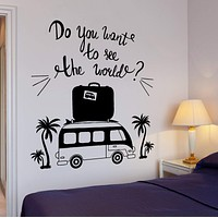 Wall Vinyl Decal Travel Tourist Summer Vacation Bus Quote Home Interior Decor Unique Gift z4299