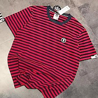 AAPE BAPE Newest Hot Sale Women Men Casual Stripe Short Sleeve T-Shirt Blouse Top Red