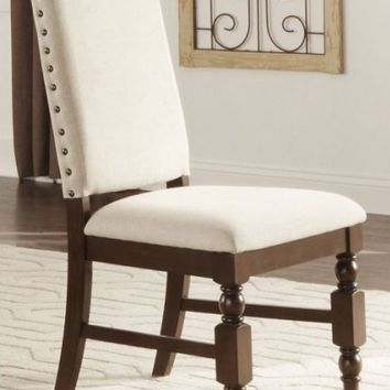 Home Elegance 5167FS Set of 2 yates collection burnished dark oak finish wood dining chairs