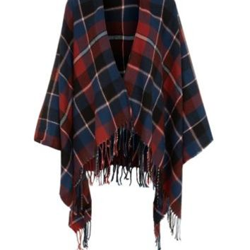 Navy and Red Check Blanket Wrap