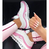 Nike Air Max 97 Ladies Casual White & Pink Cushion Casual Sneakers