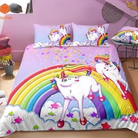 2/3Pcs 3D Cartoon Rainbow Unicorn Bedding Set With Pillowcases Duvet Cover Quilt Cover For Kids Queen King Sizes Bedspreads Sj23