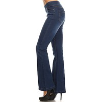Cher Flare Pull on Jeans - Dark Denim