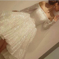 2017 Charming Prom Dresses Off The Shoulder Long Sleeves Knee Length Sequin Ball Gowns
