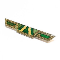 Art Deco Brooch, Enamel Bar Pin, Pierre Bex Style, Green and Yellow, 1980s, Vintage Jewelry