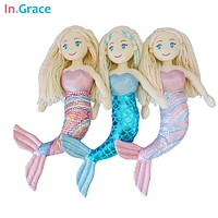 brand plush mermaid dolls with Curved tail toys for girl super beautiful little mermaid 10colors 18inch baby doll wedding dolls