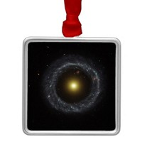 The ring galaxy torch light square metal christmas ornament