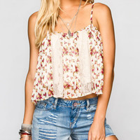Fire Lace Inset Womens Crop Top Cream Combo  In Sizes