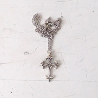 Silver Cross Necklace Long Silver Chain Religious Jewelry