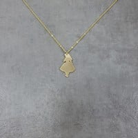 Alice in Wonderland Gold Necklace